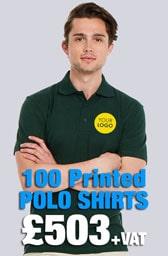 100 Printed UC105 Active Polo Shirts Deal