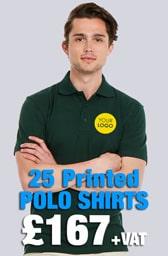 25 Printed UC105 Active Polo Shirts Deal