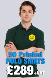 50 Printed UC105 Active Polo Shirts Deal